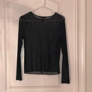 VS Black Shimmer See-through top with long sleeves